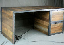 Reclaimed Wood Desk With File Cabinet Drawers. Handmade Office Furniture.  Modern