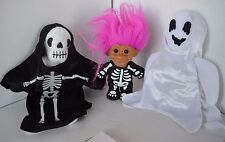 Vintage Halloween Beanie Babies Ghost Skeleton Russ Troll Lot