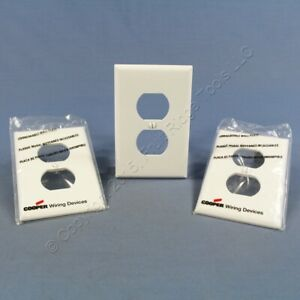 3 Cooper White Mid-Size 1G Unbreakable Receptacle Wallplate Outlet Covers PJ8W