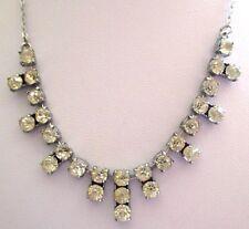 Ancien collier bijou vintage couleur rhodié argent déco cristaux diamant  3512