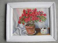 Vintage 1950s Chatterton Oil Painting Still Life Pot of Pink Flowers Framed