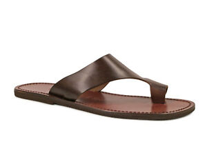 Handmade dark brown genuine leather thongs for men Made in Italy
