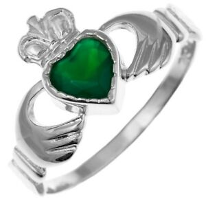 NEW Sterling Silver and Green Agate Irish Celtic Claddagh Ring Size P Jewellery