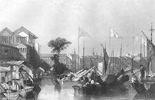 China, CANTON GUANGZHOU FACTORIES JUNK SAILBOAT SHIPS ~ 1842 Art Print Engraving