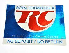 Vintage RC Royal Crown Cola Anni '60 USA Bottiglie Etichetta etichetta brillante