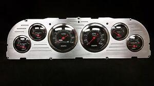 1960 1961 1962 1963 Chevy Truck 6 Gauge Dash Panel Insert Brushed Billet Black