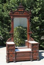 Victorian Walnut Marble Top Drop Center Princess Dresser w Hidden Drawer  c1865