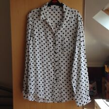 New Look UK size 8 White Shirt With Heart Pattern