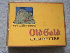 OLD GOLD CIGARETTES Vintage WWII ERA FLAT FIFTIES CARDBOARD  BOX LORILLARD GOOD