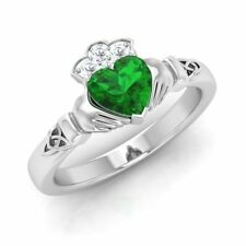 1.00 Cts Heart Emerald & Diamond 14k White Gold Claddagh Celtic Engagement Ring