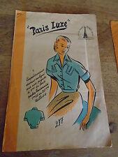 ANCIEN  PATRON * PARIS LUXE*CORSAGE ORIGINALE POCHES BOUTONNEES  T 44 1940/50