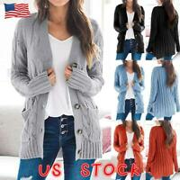 Womens Ladies Chunky Cable Knit Cardigan Button Long Sleeves Grandad Outwear New