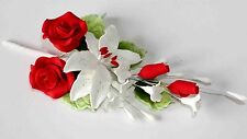 Rose Spray rojo, grande, flores, Pastel Topper de azúcar, pasta de goma, pasta de azúcar