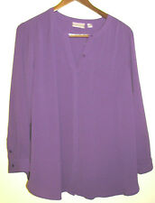 Avenue Woman Button Down Purple Stretch Tunic Blouse Plus Size 22/24W NWT