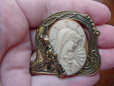 (CM4-2) MADONNA Mary Jesus orange + ivory CAMEO Pin Pendant Jewelry Christian
