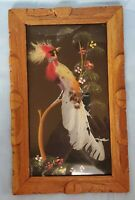 Vintage Mexican Folk Art Feathercraft Bird Feather Art Carved Wood Frame 6x10