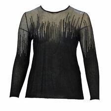 MARINA RINALDI Women's Black Ambrosia Sheer Pullover Sweater Large $525 NWT