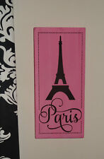 Pink and Black Shabby Paris Eiffel Tower Girls Room Bedroom Sign Decoration