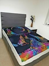 Multi Crying Wolf on Moon Wall Hanging Tapestry Hippie Mandala Twin Bedspread