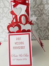 Handmade  Personalised 40th Ruby  Wedding Anniversary Pop Up  Card