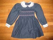 Poly Flinders Vintage Size 5/6 Christmas Holiday Dress Smocked Peter Pan Collar