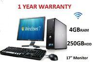 FAST WIFI DELL/HP DUAL/ Core2 DESKTOP PC&TFT COMPUTER SYSTEM 250GB 4GB WINDOWS 7