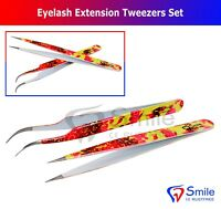 2 X Straight/ Curved Tweezers False Eyelash Extension Nail Art Supplies Tools UK