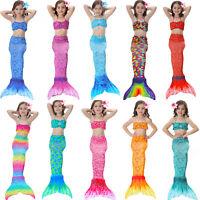 Kids Girls Swimsuit Swimmable Mermaid Tail Swimming Bathing 3 Piece Bikini Sets