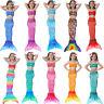 Girls Kids Mermaid Tail Swimmable Fancy Dress Swimwear Bikini Set Beach Swimsuit