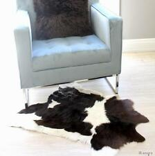 CHOCOLATE BROWN  WHITE FRESIAN CALF HIDE COWHIDE FLOOR RUG UPHOLSTERY