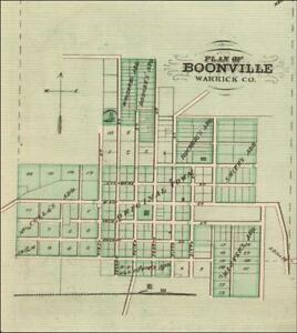 BOONVILLE, INDIANA, antique map, MATTED, ORIGINAL 1876