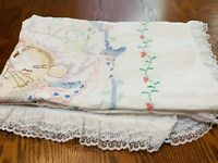 "Vintage  BABY Hand Embroidered Cross Stitch Quilted Blanket 38""x67"""