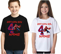 PERSONALISED SPIDERMAN T-SHIRT, ADD ANY NAME/YEAR KIDS UNISEX BIRTHDAY TOP
