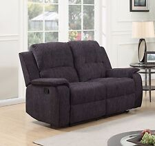 Black Grey Fabric Material Electric 2 Seater Recliner Sofa DORSET