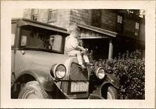 1925 Chevrolet 2 Door Coupe Boy on Hood Motometer Goddess of Speed Mascot Photo