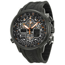 Citizen Navihawk Perpetual Chrono Black Dial Polyurethane Mens Watch JY8035-04E