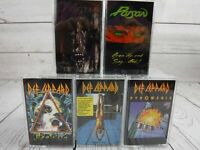 Cassette Tape Lot DEF LEPPARD Hysteria Pyromania High Dry POISON Open Up Native