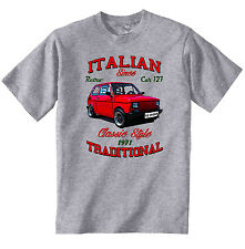 VINTAGE ITALIAN CAR FIAT 127 - NEW COTTON T-SHIRT