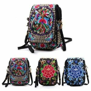 Women's Mini Embroidered Shoulder Bag Cellphone Purse Crossbody Wallet Newly