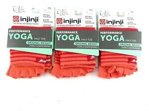 Injinji Yoga Half Toe Sock LOT 3 US L (M 11-13/W 12+) Coral Micro Length Orig Wt