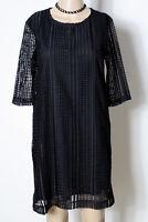 MANGO Kleid Gr. S schwarz kurz/mini Kurzarm Etui Kleid aus Häkelspitze