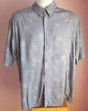 VTG Mens PIERRE CARDIN Blue Palm Trees Hawaiian Shortsleeve Shirt Size Large(b35