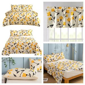 DaDa Bedding Yellow Fleur Duvet Cover Fitted Flat Bed Sheets Window Valance Set