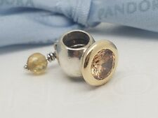 "Pandora Silver & 14k Gold Charm ""Buttercup"" Citrine and Champagne CZ - 790391CCZ"