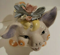 Vintage Lefton Hand Painted Bejeweled Piggy Bank w/Fragile Porcelain Flowers