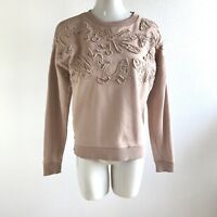 Banana Republic Sweatshirt Cotton Sweater Drop Sleeve Mesh Embroidered Size S