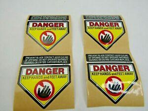 Danger Keep Hands & Feet Away -  DECAL PACK/4