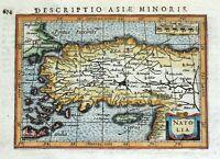 TURKEY, CYPRUS, NATOLIA, PETRUS BERTIUS original antique hand coloured map 1618