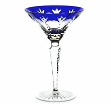 Faberge Royal Grand Palais Cobalt Blue Cased Crystal Martini Cocktail New Signed