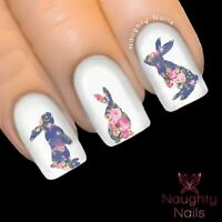 BUNNY in ELIZABETH FLORAL Nail Water Transfer Decal Sticker Art Tattoo